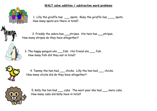 KS1 Addition Subtraction Word Problems by barnes24 Teaching – 3 Digit Addition Word Problems Worksheets