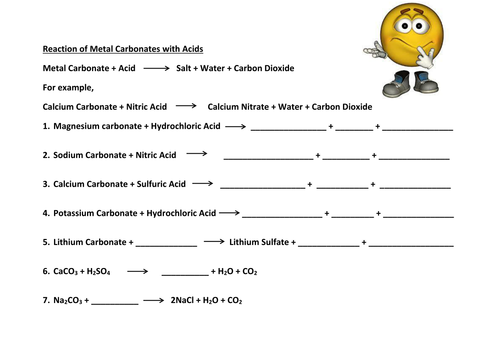 Reaction metals carbonates oxides acid worksheet by gerwynb – Acid Base Reactions Worksheet