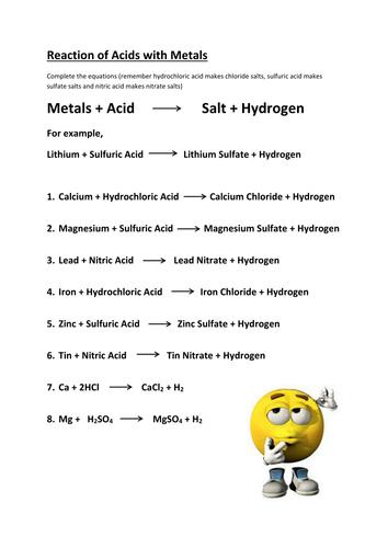 Reaction Metals Carbonates Oxides Acid Worksheet By