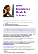 Work Experience Guide for Schools