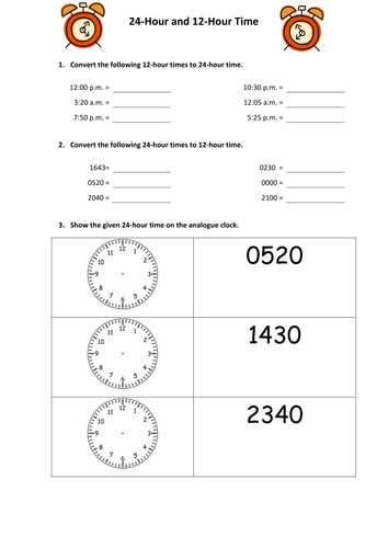 Converting 24 hour and 12 hour time by snasato - Teaching ...
