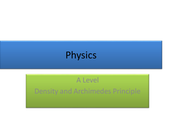 Density and Archimedes Principle