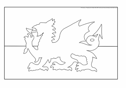 Welsh Flag Colouring Page Sketch Coloring