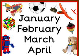 toy themed months of the year poster by primarytreasurechest