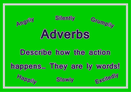 Verb, adverb, adjective and noun posters