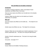Why did William win the Battle of Hastings essay plan.docx