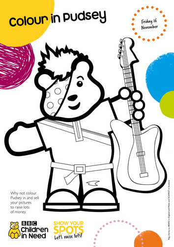 colour in pudsey by bbcchildreninneed teaching resources tes