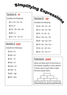 Simplifying Expressions Differentiated Worksheet