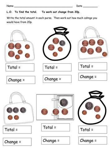 money worksheets - totals and change by clara5 - Teaching ...