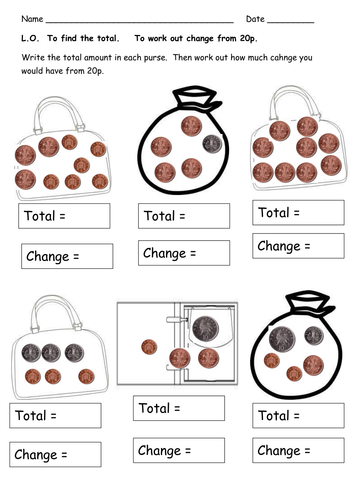 money worksheets totals and change by clara5 teaching resources tes. Black Bedroom Furniture Sets. Home Design Ideas