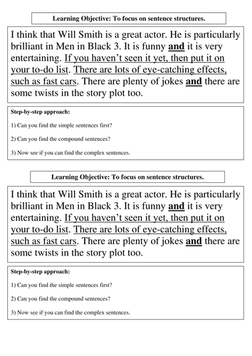 Worksheets Improving Sentence Structure Worksheets lesson on sentence structure by kaur10 teaching resources tes men in black text for doc