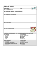 Peer Assessment Sheet