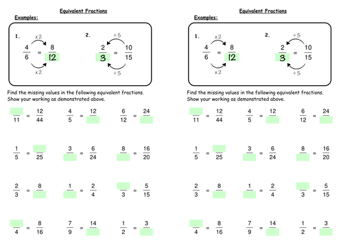 Equivalent Fractions by deechadwick Teaching Resources TES – Worksheets for Equivalent Fractions