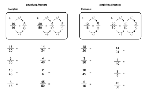 Simplifying Fractions by deechadwick Teaching Resources TES – Fraction in Simplest Form Worksheet