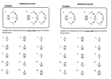 Printables Simplifying Fractions Worksheet simplifying fraction worksheets davezan collection of simplification worksheet bloggakuten