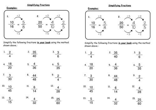 Simplifying Fractions by deechadwick Teaching Resources TES – Simplest Form Fraction Worksheets