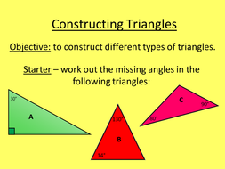 constructing triangles by lc23436 teaching resources tes