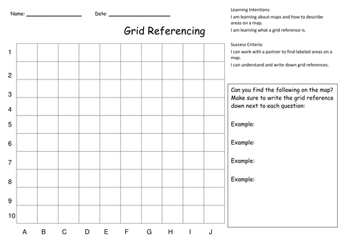 Grid Referencing and Map Skills Activities by KristopherC – Grid Worksheets