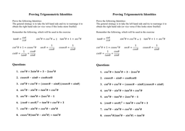 Prove Trig Identities (not multiple angles)