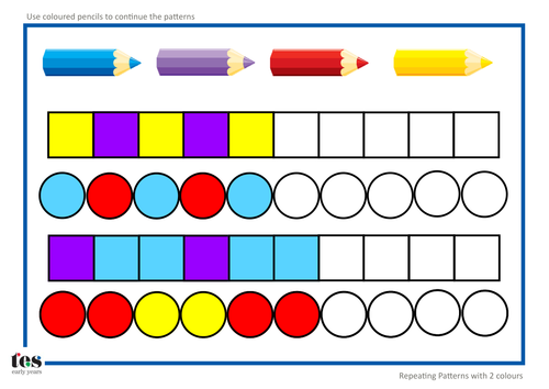 Number Names Worksheets simple patterns worksheets : Repeating Pattern Sequences by TESEarlyYears - Teaching Resources ...