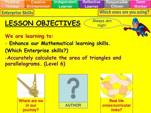 Area of triangles parallelograms lesson level 6 by mistrym03 – Area of Triangles and Quadrilaterals Worksheet