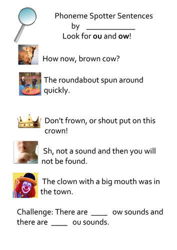 Phoneme Spotter Sentences Ou Ow By Lukeliamlion Teaching