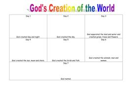 Gods 7 Day Creation Blank worksheet by jopickersgill - Teaching ...