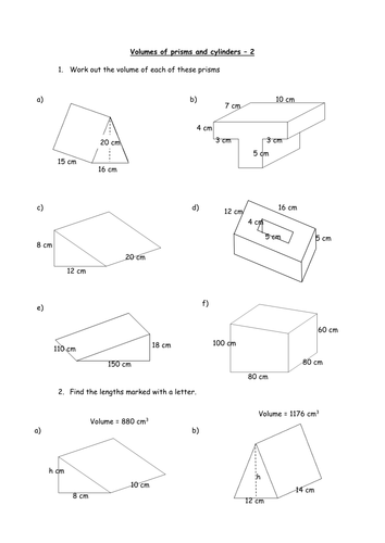 Printables Volume Of A Prism Worksheet finding the volume of prisms and cylinders by charlenewilliams teaching resources tes