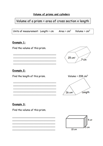 Finding The Volume Of Prisms And Cylinders By