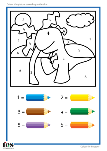 Colour by Numbers TEACCH Activities - Dinosaurs ...