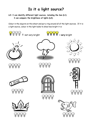Light Sources Colouring Sheet By Katharine7 Teaching