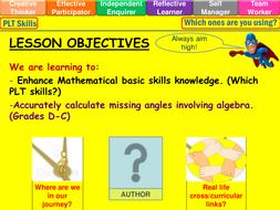 Finding missing angles involving algebra lesson