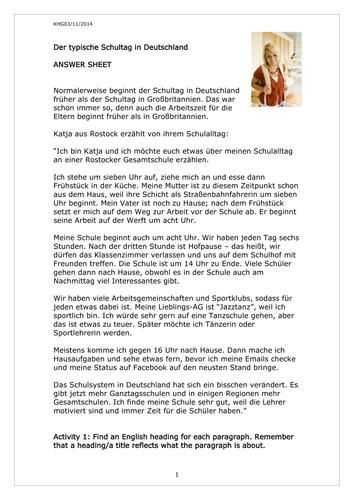 Der typische Schultag in Deutschland by rosered27 - Teaching ...