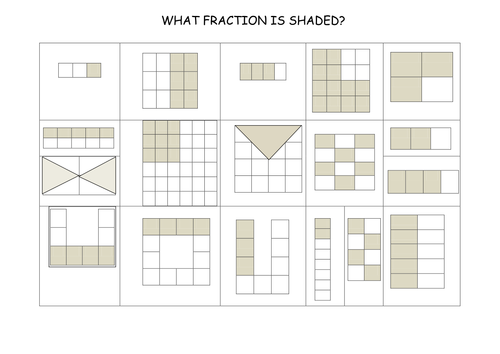 SELECTION OF FRACTION WORKSHEETS by gepocock Teaching Resources – Fractions of Shapes Worksheet