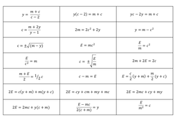 Rearranging formulae / changing the subject