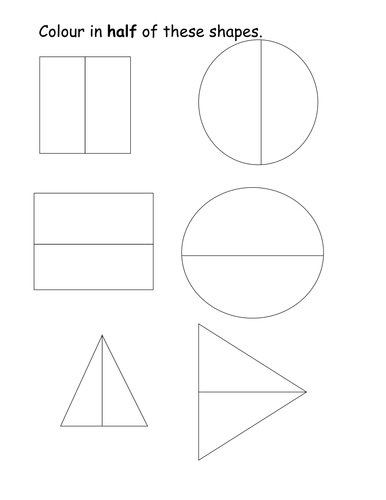 Colour In Half Of The Shapes Worksheet 6306520 on Shapes Divided Into Halves