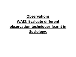 Observation lesson