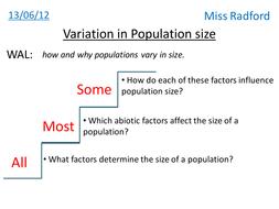 1.3 Variation in population size AQA A2 Biology