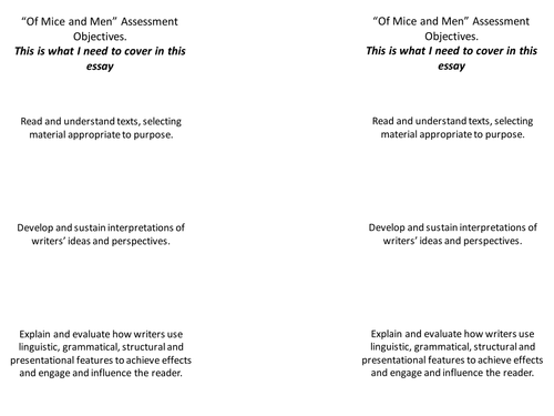 prose text assignment of mice and men essay Tips for writing 'of mice and men' essays 'of mice and men' is a novel by john steinbeck, which is included in the high school syllabi and which often comes up as topics for essay assignments.