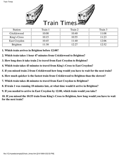 Year 4 - time and timetables (inc. word problems) by ...