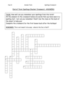 Spellings Crossword - Year 8 (Autumn Term) ANSWERS.doc