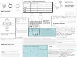 edexcel AS Biology revision sheet topic 1