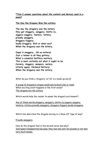 Humorous dragon poetry - comprehension Yr 5/6 by ...