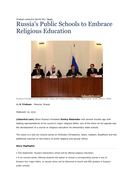 Russia's Public Schools to embrace Religious Education.docx