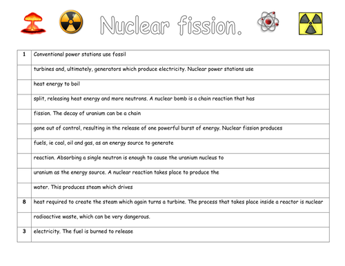 Nuclear Fission and Fusion by missnpye Teaching Resources TES – Nuclear Reaction Worksheet