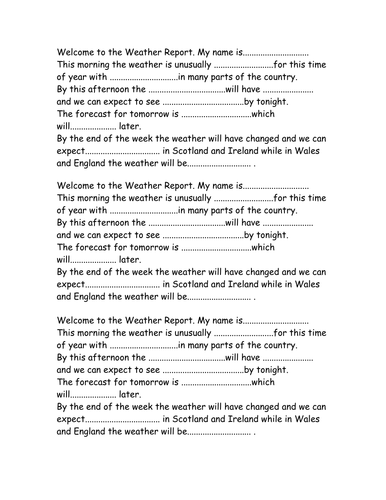 Write a weather report by swite teaching resources tes for Kids weather report template