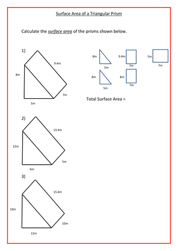 Printables Volume And Surface Area Of Triangular Prisms (c) Measurement Worksheet surface area of triangular prism worksheet davezan prisms by ra77 teaching resources tes