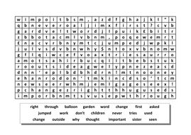 Wordsearch - High Frequency Words