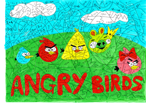 Angry Birds Negative Numbers Calculated Colouring By Twiglet84