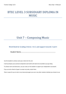 Student workbook Unit 7 - BTEC Level 3 music